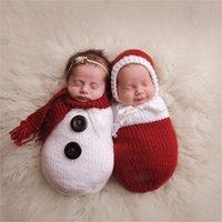 Newbornaphy Photography реквизит вязание вязание крючком вязаные детские фотографии костюм ребёнок мальчик девушки рождественские реквизиты детские фото реквизиты аксессуары LJ201215