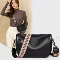 Luxus breite Schultergurt Handtaschen Frauen Taschen Designer Damen Chic 100% Echtes Leder Rindsleder Stilvolle Crossbody Umhängetasche