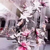 الزخرفية إكليل الزهور 80 سنتيمتر كبيرة رغوة زهرة ماغنوليا الاصطناعي عرض وهمية الزفاف خلفية الديكور تصميم حزب ديكور