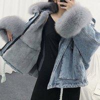 Luzuzi Winter Loose Denim Jacket Women Oversized Fur Collar Plus Velvet Padded Jackets Vintage Cotton Thick Warm Jean Coat 201104