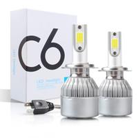 Lâmpadas C6 H1 H3 LED Lâmpadas LED H7 Luzes LED H4 880 H11 HB3 9005 HB4 9006 H13 6000K 72W 12V 7200LM Auto Feadlamps