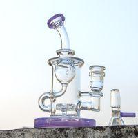 Klein Recycler Heady Glass Bong Tubo dritto Narghilè Torus Oil DAB Pan Ittiglie con soffione perc 14mm femmina Joint Bowl XL-2071