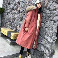 Aşağı Parkas Ördek Fitaylor Büyük Real Rakun Kürk Yaka Kadın Kış Aşağı Ceket Kaban Kapşonlu Uzun Palto Kadın Kalınlaşmak Beyaz