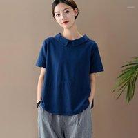 T-shirt das mulheres Johnature Verão solto lazer retalhos de manga curta de algodão linho 2021 simples cor sólida confortável mulheres
