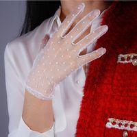 Женская сексуальная прозрачная точка печать белой сетки перчатка женской летние солнцезащитной партия клуба танцы перчатка R1908