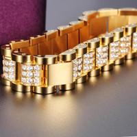 Micro lastricato zirconi cubic zirconia Bling ghiacciato oro orologio in acciaio inox cinturino a catena di collegamento braccialetto uomo hip hop rapper gioielli