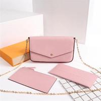 أفضل نوعية فاخرة تصميم المرأة ثلاث قطع سلسلة محفظة فتاة الكتف حقيبة السيدات حقيبة الفاصل مع صندوق شحن مجاني