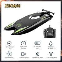 2.4 g de embarcaciones RC 25km / h Control remoto eléctrico eléctrico de alta velocidad Juguete de coche 2 canales Dual Motor inalámbrico 80m Barco para niños adulto