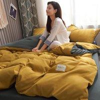 Serker Literie de luxe Ensemble de couverture de couette simple moderne Set de couverture de couette king size lit king double draps linge adulte jaune lit de literie jaune1