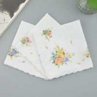 Mujeres Pañuelo 100% algodón Floral Hankie Flowered Pañados Bordados Coloridas Damas Toallas de bolsillo Favor de la fiesta de boda 169 G2