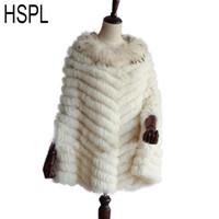 HSPL 2020 de lujo de punto real poncho de la piel del mapache Con ajuste de la piel de las mujeres de moda de otoño real Negro Wrap