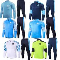 2021 Tracksuit Olympique de Marselha Homens Futebol Treinamento Ternos 20 21 Survitement Soccer Maillots Foot Chandal Kit