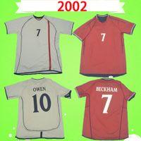 England Retro 2002 Fußball-Trikots Rote blaue Vintage-Fußball-Hemden Cole Beckham Owen Sinclair 02 Home Away Heskey Scholes tragen auf beiden Seiten