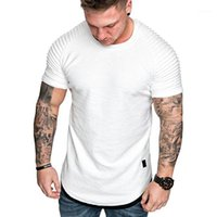 러닝 유니폼 셔츠 남성용 솔리드 셔츠 2021 여름 짧은 소매 2 조각 옴므 티셔츠 티 1