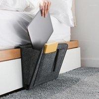 Yatak Saklama Çantası Cep Keçe Başucu Askı Yatak Masa Kanepe Yatak Odası Yatak 2 İç Pockets ile Kaymaz Organizatör Tutucular1