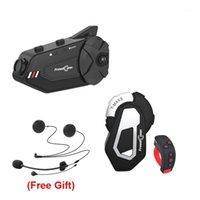 Interphone de moto R1 Plus + T-max S + L3 Enregistreur vidéo Casque 1000m 6 Riders Bluetooth Casque de casque de groupe1