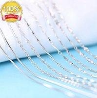 Logot genuino 925 de plata esterlina Lingote Twisted Trace Belcher Snake Bar Singapur Caja Cadena Collar Mujer ACC052B