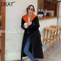 [DEAT] Orange Hit Color Removable Hooded Collar Slim Waist Woolen Coat Women Full Sleeve Long Zipper 2020 New Autumn Tide TU3911