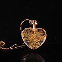 زهرة قلادة القلب المعلقات الروائح القلائد قلادة مجوهرات الزهور الجافة العطور القارورة زجاجة قلادة قلادة