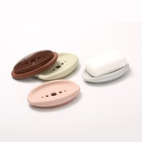 Soporte de jabón de silicona Tenedor de almacenamiento Multicolor Drenaje Lavado Limpieza Brush 2 en 1 Platos de jabón Anti patinaje Jabón Caja Baño Suministro de baño 56 P2