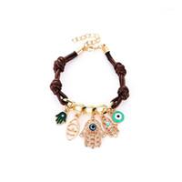 Moda Fátima's Hamsa Pulseira Mal Eye Bracelet para mulheres couro pingente malha link para mulheres braço fatima # 2892431