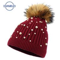 Berretto / cranio Cappucci Dianruo Vendita Cappello a maglia per le donne Autunno Inverno Lana Moda Moda Perla Perla Bonnet all'ingrosso Q551