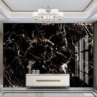 مخصص للجدران 3D ترف الذهبي الأسود الرخام نمط TV خلفية جدار جدارية غرفة المعيشة غرفة نوم للماء قماش اللوحة