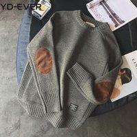 Мужские свитера утолщены грубый шерстяной свитер мужчин пуловер одежда 2021 осень зима винтажные патч дизайн джемпер тянуть Homme вязаный
