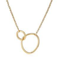 Varole Mutter Geschenk Hand in Hand Choker Pendent Halsketten Für Frauen Gold Farbe Gebogene Doppelring Anhänger Halskette Modeschmuck
