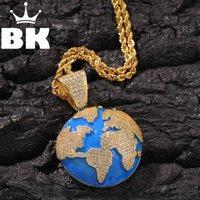 Hip Hop voll Euro Out Bubble Globus Anhänger Halskette Herren Womens Schmuck Geschenke Luxus Bling Schmuck Mode Hiphop Für Männer Y1220