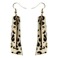 Geometrie Leopard Ohrringe Echtes Leder Metall Kuh Druck Ohrring Rindsleder Messing Ohr Anhänger Frauen Jewlery Geschenk