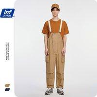 Инфляционные мужские комбинезоны Свободные подходящие повседневные мужские брюки брюки Broadcloth полиэстер мужские брюки хип-хоп Streetwear мужские комбинезоны 3027S20 201110