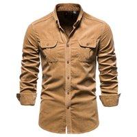 Primavera Summer Carduroy Uomo Casual traspirante Camicie da uomo multi-tasca Solid manica lunga Camiseta Masculina M-2XL