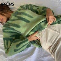 Aparom Элегантные зеленые полосатые печать негабаритные пуловеры женские зимние O-образным вырезом свободные длинные свитеры Streetwear теплые верхняя одежда 20201