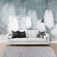Пользовательские 3D фото обои Синий перо Romantic Абстракционизм Mural Nordic Современная Спальня Диван ТВ Фоновая настенная живопись Холст