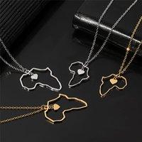 Afrika-Karte Anhänger Halskette für Frauen-Mann-2 Größe Edelstahl-Herz Afrikanische von Karten Kettenhalsketten Schmuck Charms Geschenke