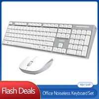 Tastiera Mouse Combos Computer Office Accessorio Wireless Bianco Bianco Ottico Silenzioso 2.4G Tastiere retroilluminati per Windows 7/8/9 / XP / VISTA