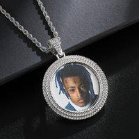 Neue benutzerdefinierte foto medaillons runde halskette fotorahmen anhänger mit seilkette gold kubikzircon rock straße männer hip hop schmuck
