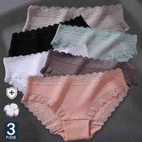 3 teile / satz frauen baumwolle höschen sexy spitze lingerie weibliche weiche unterwäsche für mädchen damen unterhose floral slips frau panty