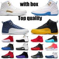 Con Scatola 12 12s Scarpe da basket di alta qualità Jumpman Womens Mens Sneakers Stone Stone Blue Satin University Gold Ovo Trainer