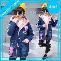 Новые Моды Девушки Джинсовые Джас Зимние Пальто с Берберским Флисом Наряда Детские Джинсы Стройные Длинные Теплые Куртки