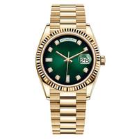 Nuevo reloj de lujo Diamante M128238-0069 Caso de acero de dial verde 41mm Sapphire Glide Lock Bloqueador de cierre pulsera Reloj de pulsera automáticos