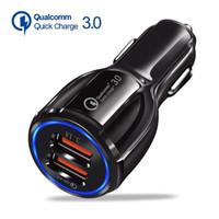 Chargeur de voiture QC3.0 pour téléphone mobile Dual USB Chargeur de voiture Chargeur rapide 3.0 Adaptateur de chargement rapide Téléphone de voiture Chargeurs USB