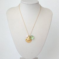Fashion Real Placcato Gold Placcato Fiori Pearl Resina Green Crystal Shell Shell Pendel Collana Chian Brand Regalo