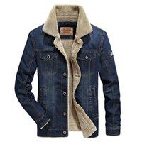 Jaquetas masculinas inverno lã solta coordendo jaqueta jeans com colarinho de pele moda retro engrossar quente jeans cowboy 4xl