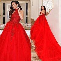 New Arabic Red Quinceanera Dresssses Long Train 2021 A Roy Halter Hee Prom Priend Party Sweet 16 Платье Аппликации Кружевные Бусины Формальные Вечерние платья