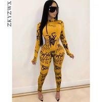 Dois peça vestido Zkyzwx sexy 2 set mulheres 2021 mola roupas macacões bodysuit top calça suor ternos combinados conjuntos club outfits1