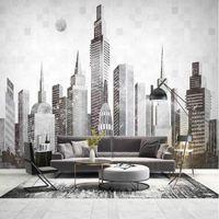 현대 추상 도시 건물 3D 벽 종이 장식 그림 벽지 거실 홈 개선 부직포 벽지