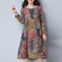Vestidos casuais vestido moda mulheres manga longa o pescoço bolso linho de algodão impresso solta dres roupas 20211