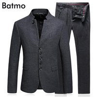 Batmo 2020 new arrival high quality wool Single Breasted gray casual suits men,men's wedding dress,plus-size M-3XL 6622